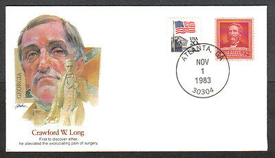 Us Cover 1983 Crawford W Long -Proudest Americans Fleetwood Cachet