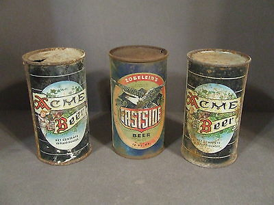 Lot Of 3 Acme Beer & Eastside Beer 12Oz Flat Top Cans (Empty)