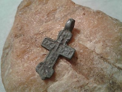 Unique ancient Catholic Eastern Orthodox bronze Cross pendant 14-15th cent. #2