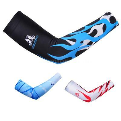 1pair Cycling Bike Bicycle Arm Warmers Cuff Sleeve Cover UV Sun Protection O9Y8