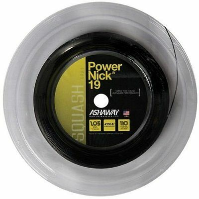 ASHAWAY POWERNICK 19 BLACK SQUASH RACKET STRING - 110m REEL