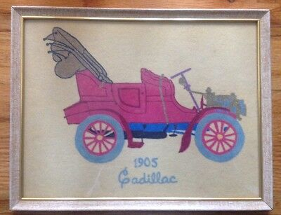 Vintage 1905 Cadillac fabric art with frame