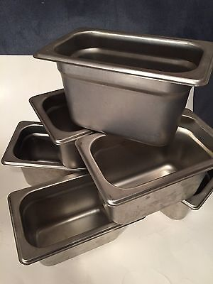"""(Lot of 6) USED Stainless Steel Ninth Pans, 4"""" Deep Steam Table/Buffet"""