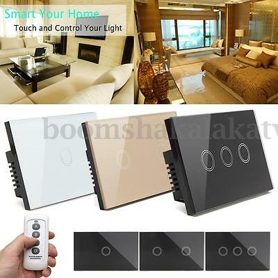 1/2/3 Gang 1 Way Crystal Glass Smart Touch LED Light Switch Controller + Remote