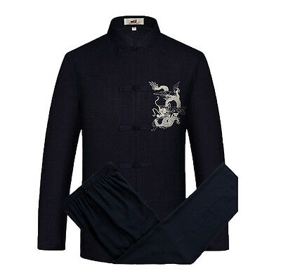 Chinese Style Mens Cotton and Linen Long Sleeve Embroided Tang Suit Top and Pant
