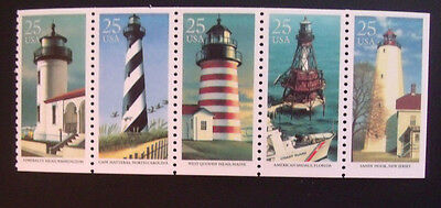 Mint US stamp strip of 5 #2470-74  Lighthouses