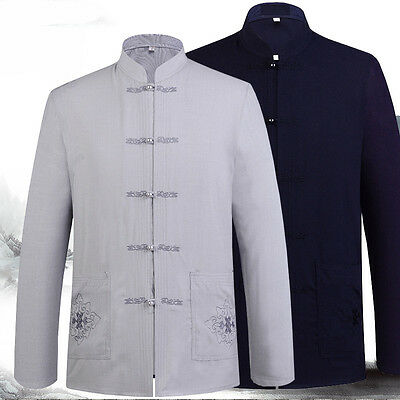 Mens Chinese Traditional Long Sleeve Cotton and Linen Tang Suit Shirt and Pant