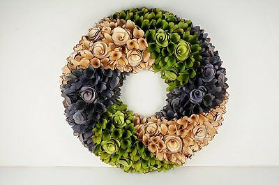 """Multi-Color Spring Round 18"""" Wood Curl Wreath or Wall Decor"""