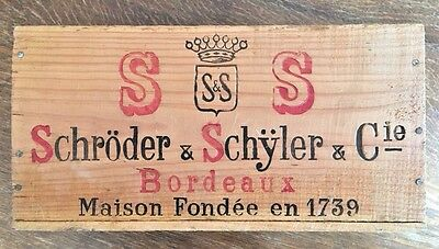 Vintage 1969 French Bordeaux Wine Wood Box Schroder & Schyler Advertising Crate