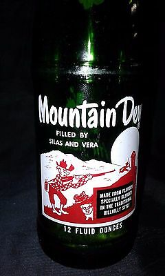 Vintage 1965 Mountain Dew Bottle 12 Oz Filled by Silas and Vera R/W Label