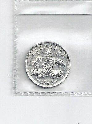 1962 Australian Sixpence 50% Silver Coin DU3