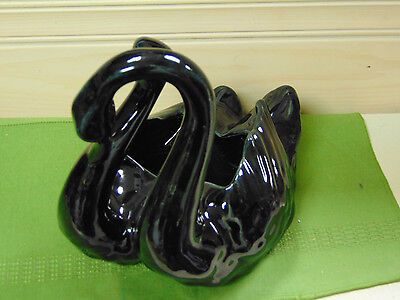 Camark Pottery Black Swan Entwined Pair Planter USA