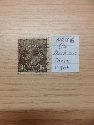 Australien Stamps KGV Heads No.86 OS, used Mark on three right
