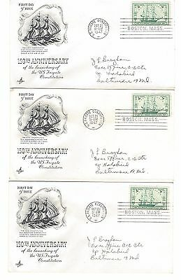 #951 USS Constitution FDC - Lot of 3 (#25)