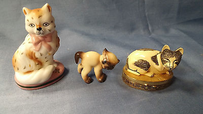 3 Cat Figurines -Lefton Kitty- Franklin Mint-Estee Lauder Solid Perfume Compact