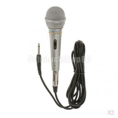 2x Professional Dynamic Vocal Microphone Wired Mic Mike Microphone-Silver