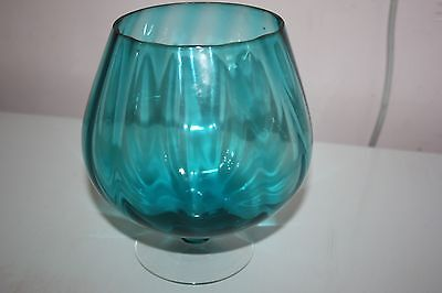 Large retro blue glass balloon / vase / bonbon dish