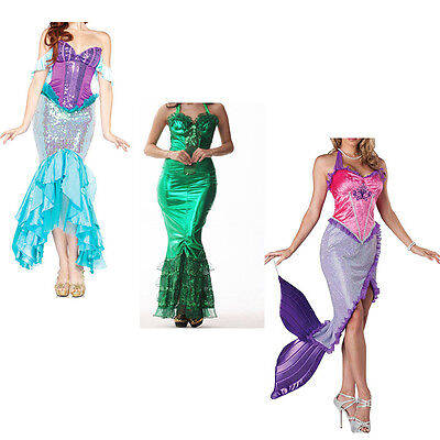 Mermaid Costume Women Princess Dress Fancy Party Halloween Dress Cosplay Disney