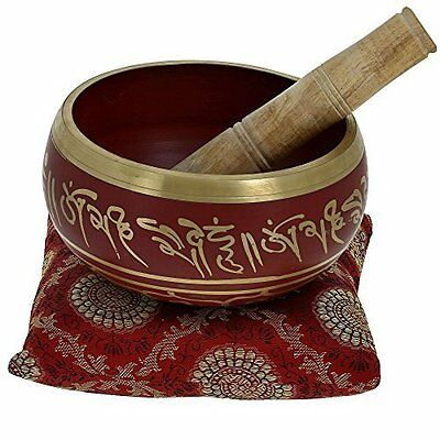 5.5 Inches Hand Painted Metal Tibetan Buddhist Singing Bowl Musical Instrument