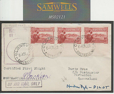MS2121 1927 AUSTRALIA AIR FFC *Cloncurry*First Flight Cover Signed *Hudson Fysh*