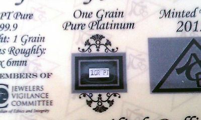 ACB Platinum SOLID BULLION MINTED 1GRAIN PT BAR 99.9 Pure W/certificate