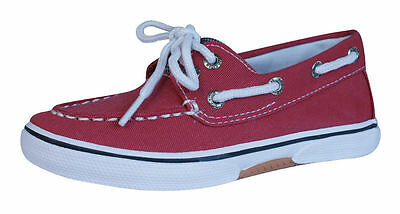 Sperry Halyard Boys Canvas Deck / Boat Shoes - Red CB40431 - UK Size 9 K