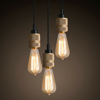 Loft Rustic Single Exposed Edison Bulb Pendant Ceiling Hanging Fixture Brass New