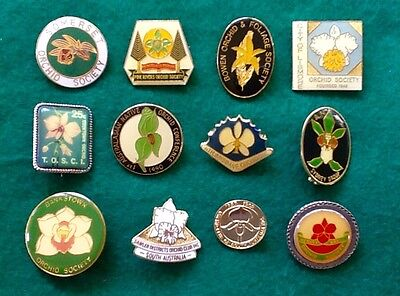Collectors BARGAIN Lot (12) ORCHID Australia CLUBS Society BADGES Pins FREE POST