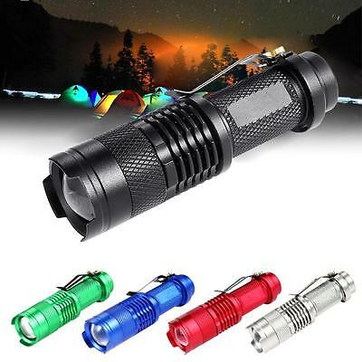 6000LM CREE Q5 LED Mini Flashlight 14500 AA 3 Modes Zoomable Torch Lamp Light MT