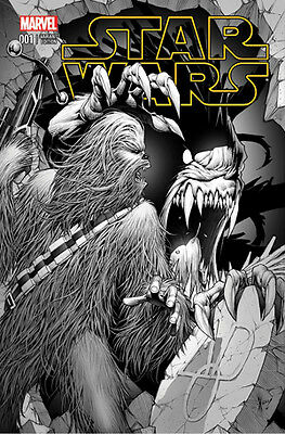 Star Wars #1 Black & White Dale Keown Aod Chewbacca Variant