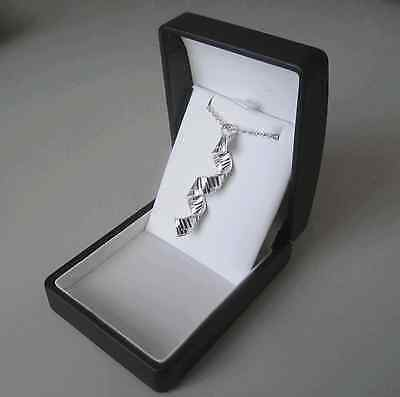 Piano Keyboard Spiral Necklace Silver Plated Music Pendant GIFT BOXED
