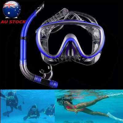 New Dive Diving Mask Goggle Dry Snorkel Set Swimming Scuba Snorkeling Gear Blue