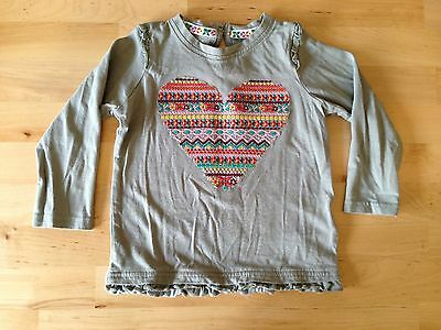 Baby Girl M&S Autograph Long Sleeve Top Age 12-24 Months Khaki Embroidered Heart