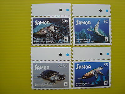 Wwf Samoa 2016, Hawksbill Turtle, Set Of 4 Stamps + Margin, Perforated, Mnh