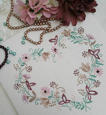 Transfered Embroidery Kit : Tranquility Mauves ; Beautiful Kits by Maggie Gee