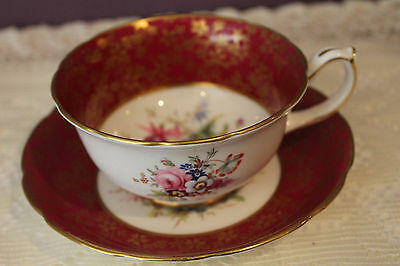 Hammersley Teacup And Saucer - Burgundy Floral With Gold - Signed F. Howard