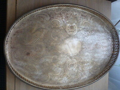 Silver Plated on Copper Serving Drinks Tray