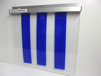 PVC STRIP CURTAIN DOOR ALL BLUE on CLEAR PVC 900mm wide x 2150mm long