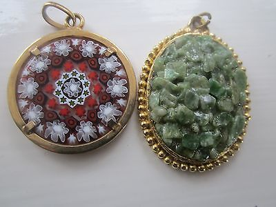 Two Vintage Gold Tone Pendants Millefiori And Green Chip