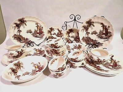 Vintage Johnson Brothers The Old Mill 38 Piece Dinnerware Set England