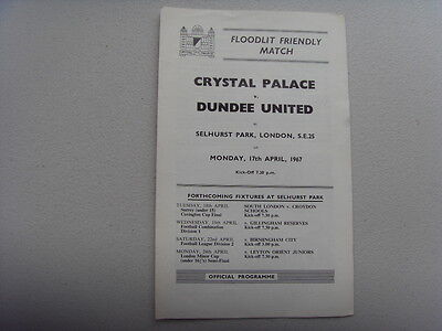 PROGRAMME - CRYSTAL PALACE v DUNDEE UNITED - FRIENDLY 1967