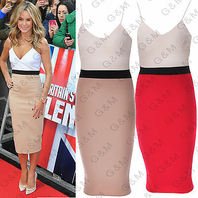 Womens Block Bodycon Pencil Midi Dress Formal Party Night Evening Size 18
