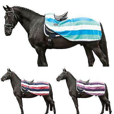 HKM Exercise Sheet Fashion Stripes Velcro Tail Strap Horse Protection Blanket