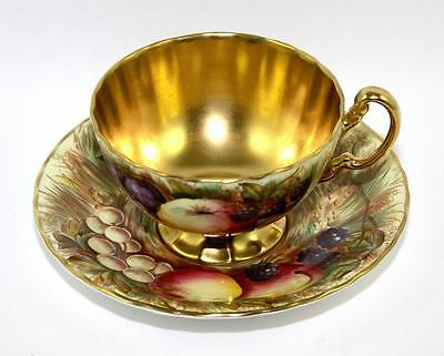 Beautiful Vintage Aynsley Bone China 'Fluted' Orchard Gold Cup and Saucer
