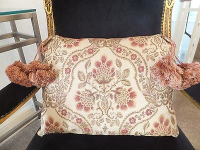 Genuine Antique Vintage Tapestry Velvet Aubusson Hand Made Cushion With Tassels