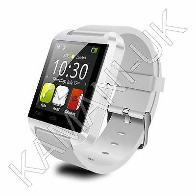 WHITE BLUETOOTH SMART WRIST WATCH PHONE FOR ANDROID & iOS - IPHONE SAMSUNG HTC