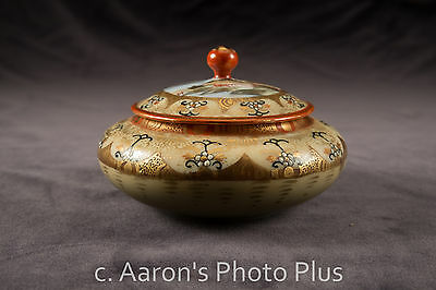 Vintage Hand Painted Asian Covered Porcelain Sugar Bowl possibly signed