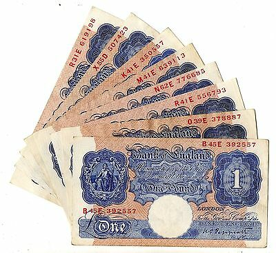 K O Peppiatt Blue Emergency WWII £1 Banknotes Circulated VF B249