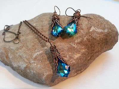 Peacock Blue Necklace & Earrings in Copper Filigree with Swarovski Luxury Wrap