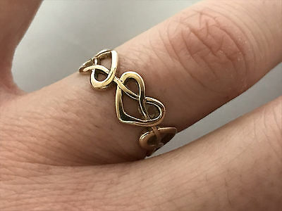 9ct Gold Heart Design Band Ring, UK Size: P